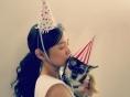윤승아, 반려견과 함께 행복한 생일 파티