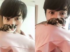 방탄소년단 진, 하늘다람쥐 '오뎅이'와 셀카
